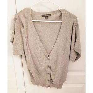 Gray short sleeve cardigan